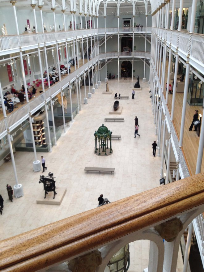 looking down on ground floor of museum of scotland
