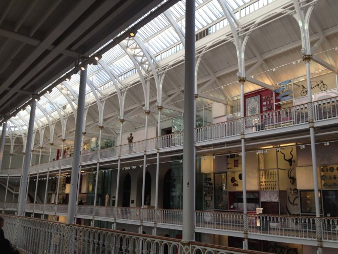 looking over to upper galleries in museum of scotland