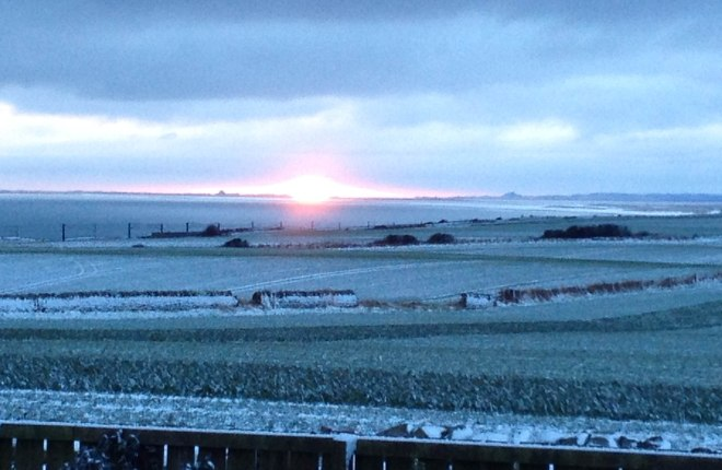 Sunrise on snowy fields