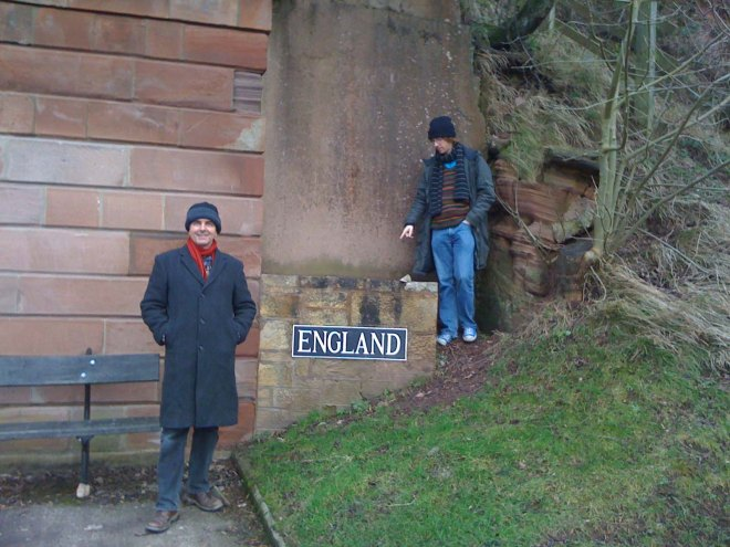 James and Stephen at England sign