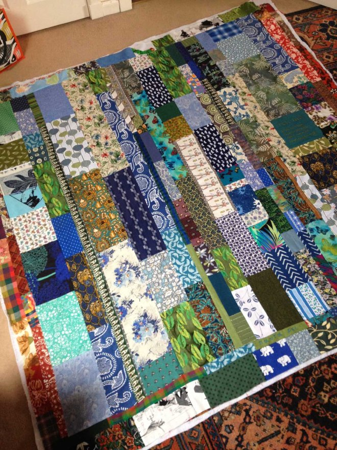 building up blue green side of quilt