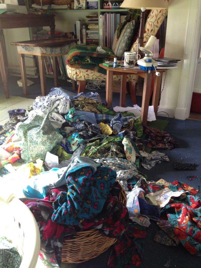 fabrics strewn everywhere