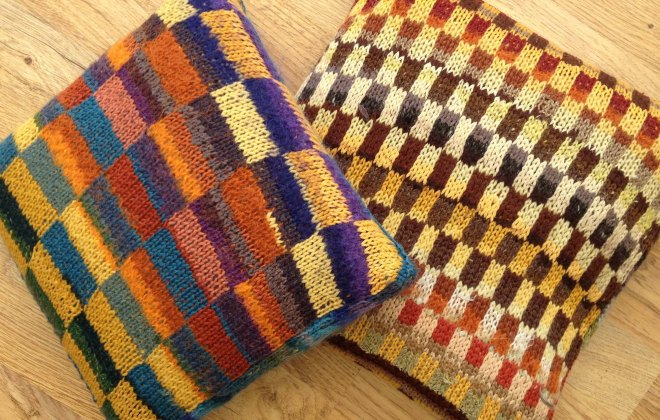 Lucy's knitted cushions