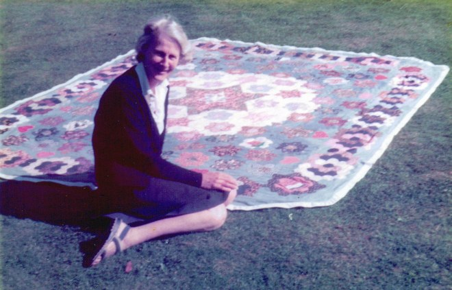 My mother with the wedding quilt