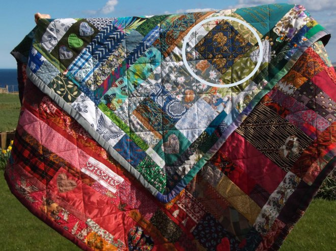 My story quilt featuring Dordy's batik dress