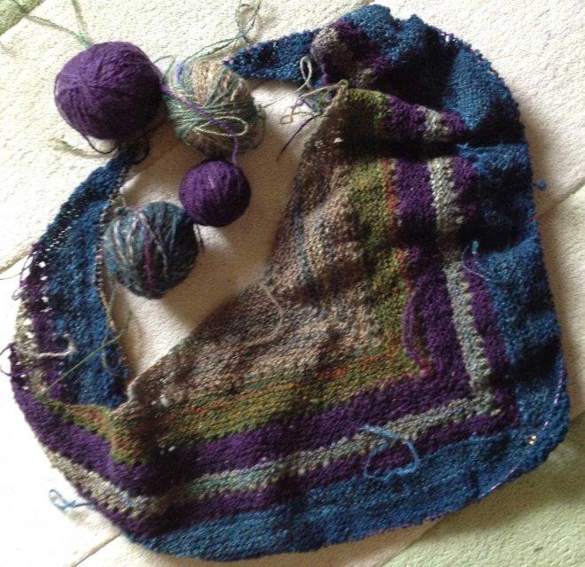 3S purple blue green shawl