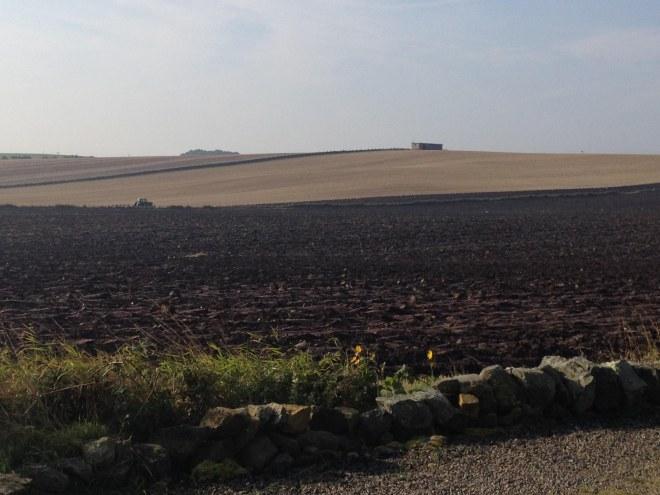 Chocolate brown field being ploughed