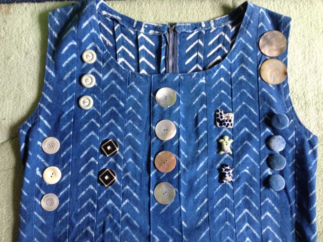 trying out buttons on Habitat fabric dress