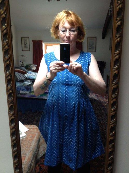 working on K's blue Habitat fabric dress