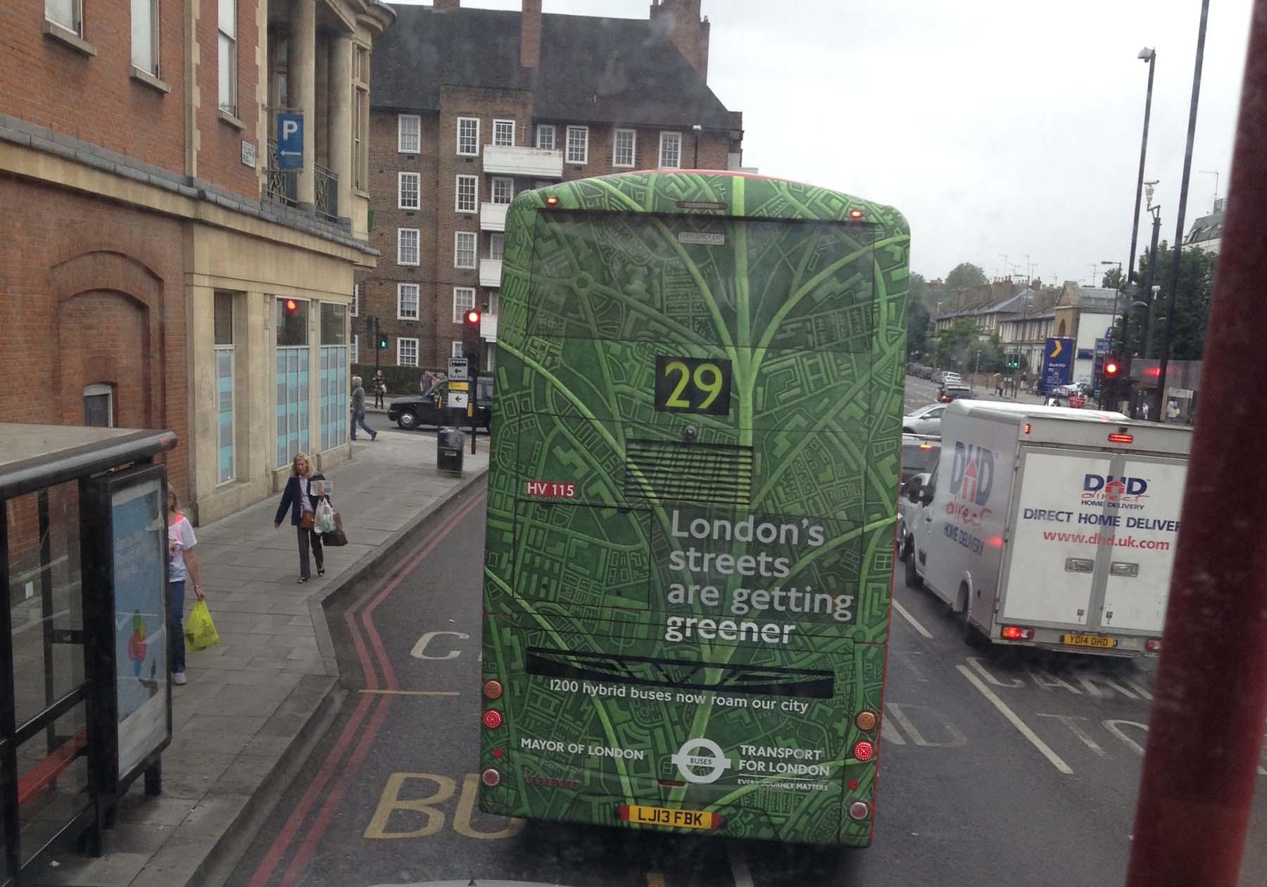 Green London bus