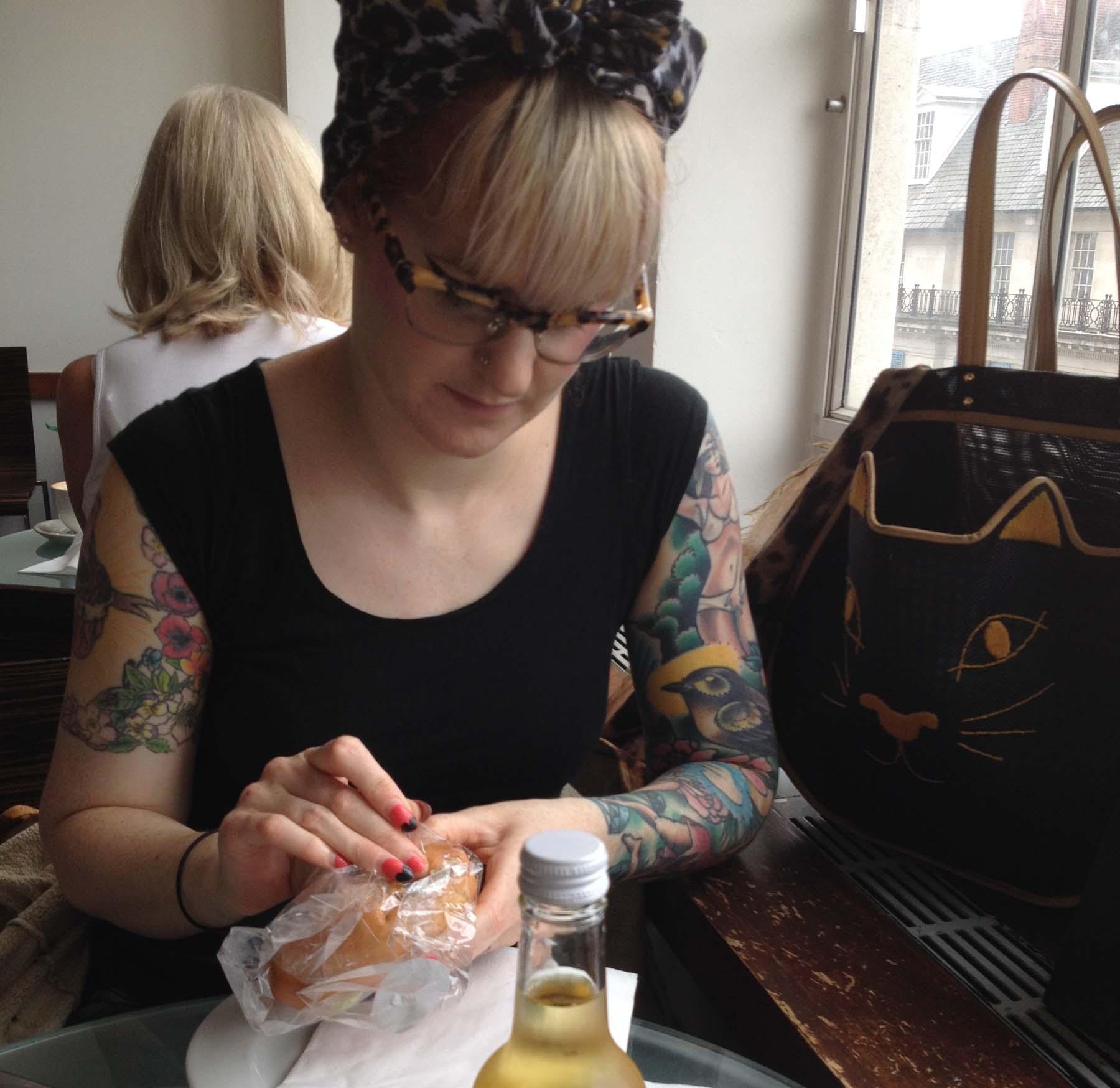 Helen eating lunch in John Lewis