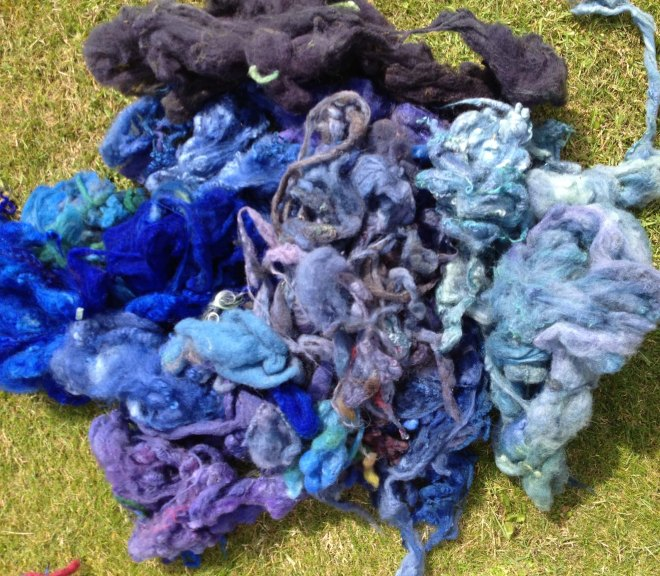 blue fleece on grass