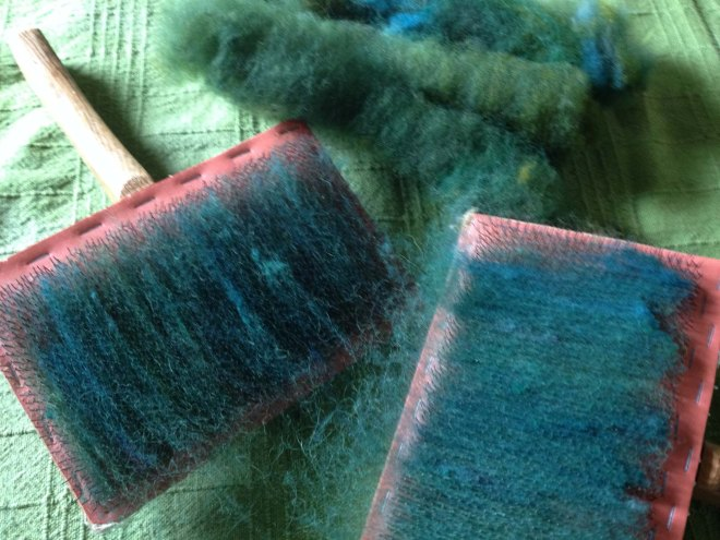 Carding green fleece