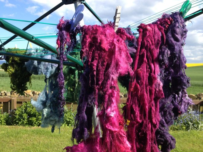 pink fleece on washing line