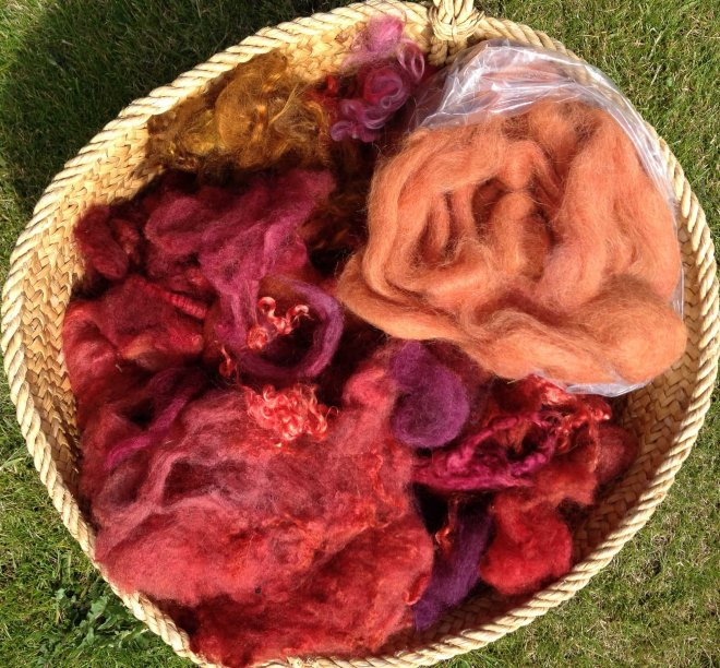 red orange fleece in basket