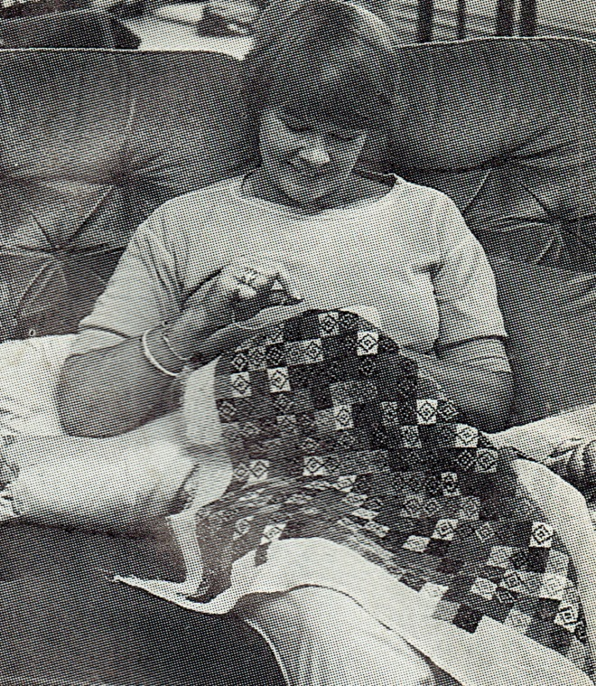 Judi Dench embroidering, Pins 1983 3