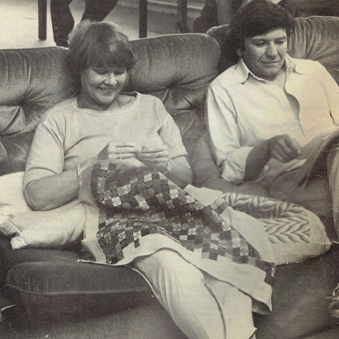 Judi Dench embroidering, Pins 1983 - with Michael Williams