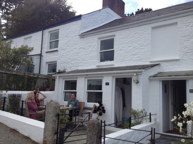 Sitting outside our Helford Passage cottage