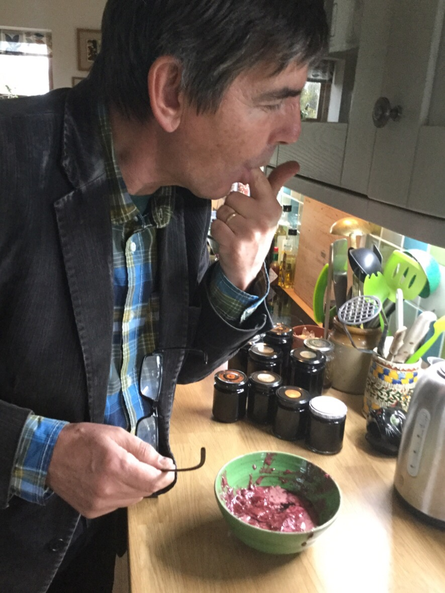 Stephen tasting the finished jelly