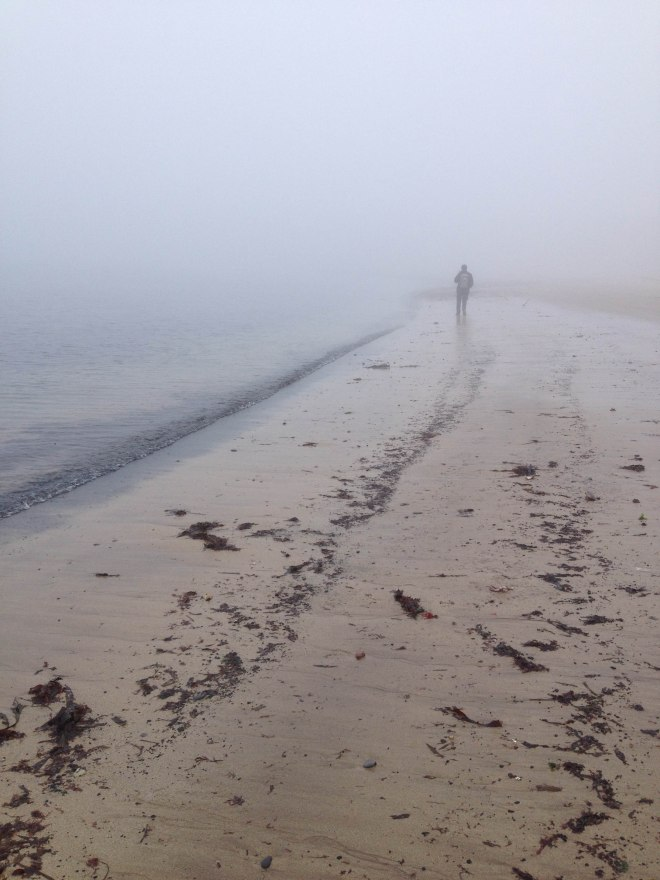 walking along misty beach