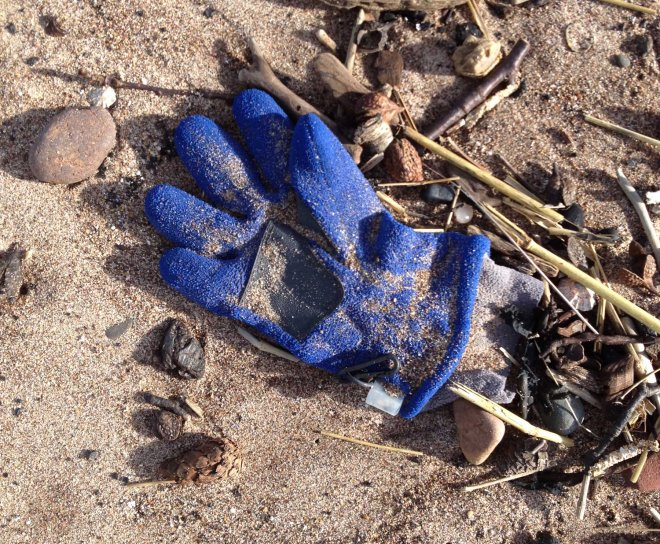 blue glove on beach