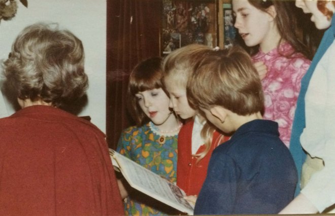 Christmas 1970 carol singing round piano