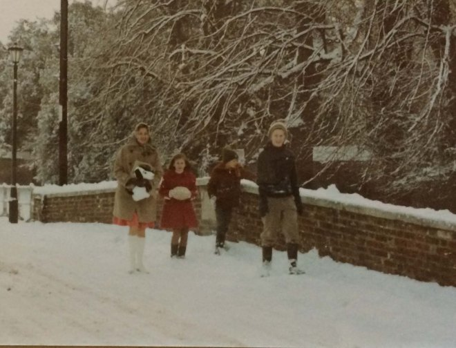 Christmas 1970 walking to church
