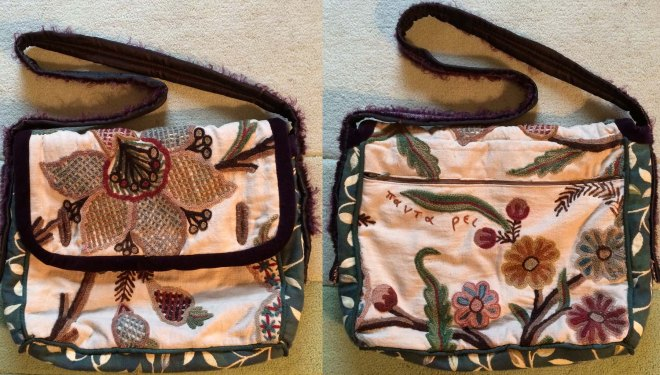 back and front of Dordy's curtains bag