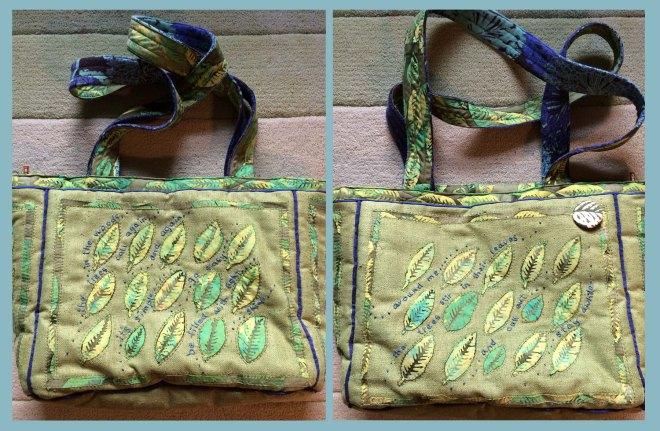 Both sides of green leaves bag