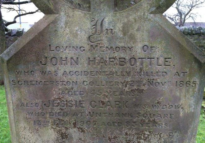 John Harbottle's grave stone