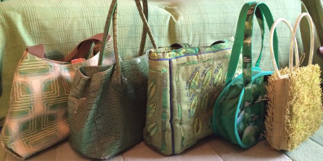 Line of green bags