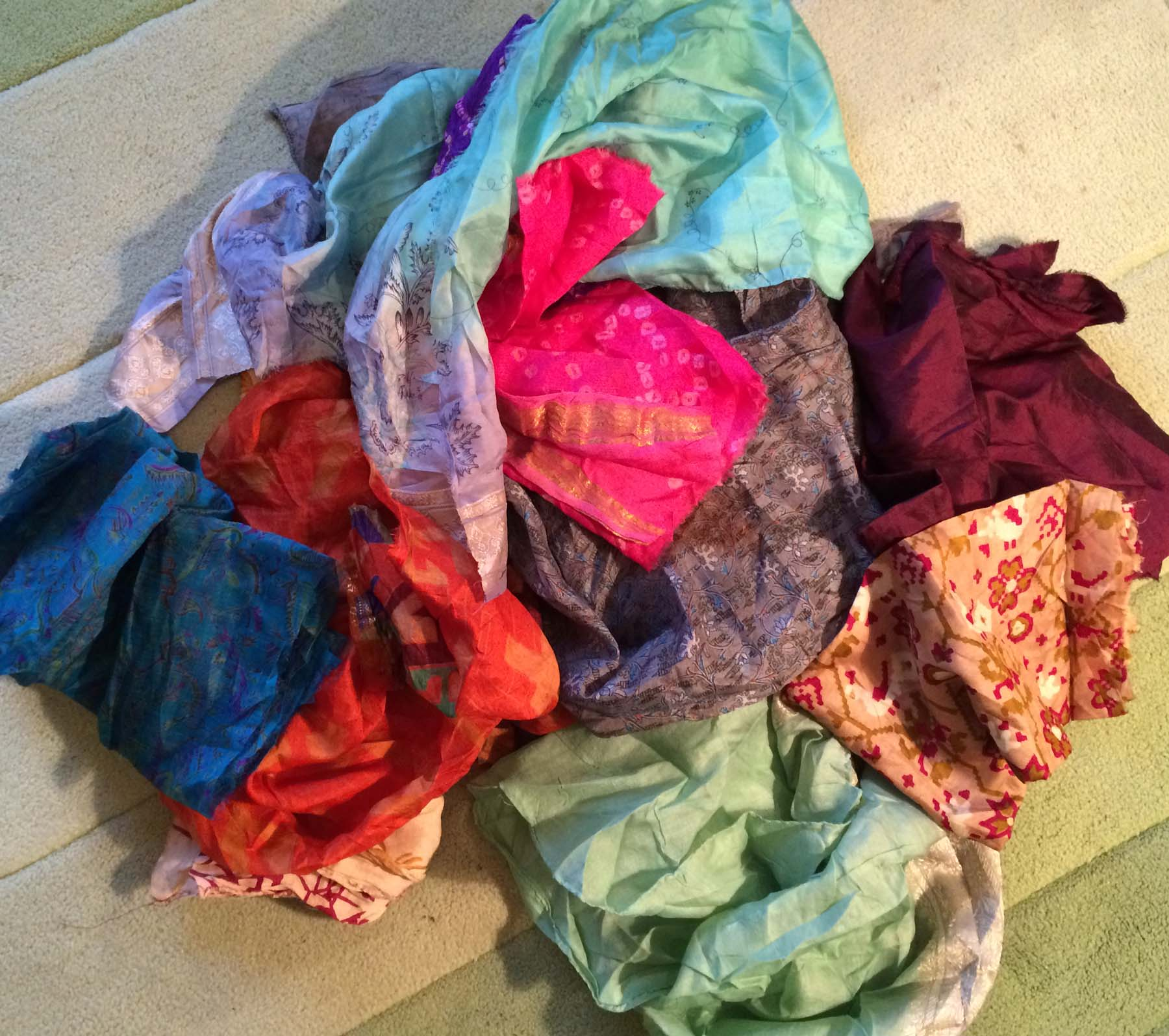 recycled sari pieces