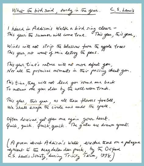 C S Lewis Magdalen poem