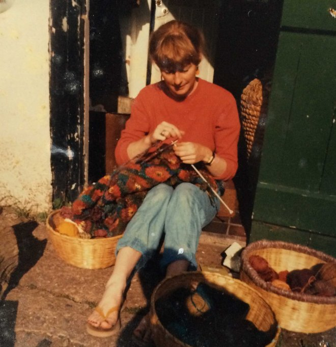 Katherine knitting