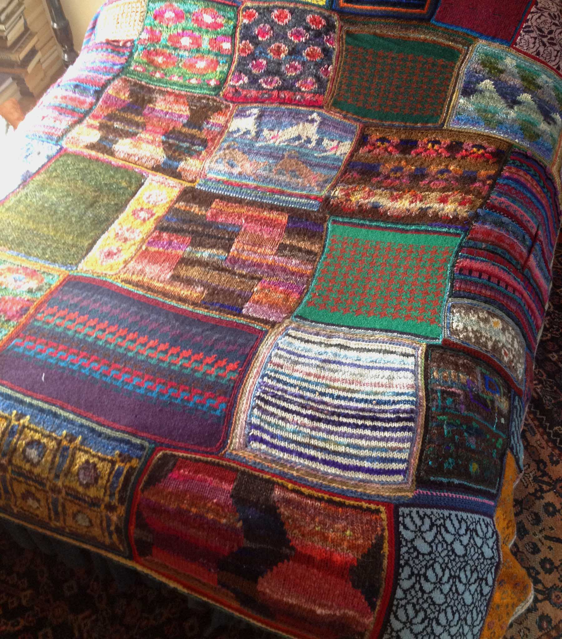 Knitting Patchwork Quilt Patterns : Our knitted patchwork blanket something from seaview
