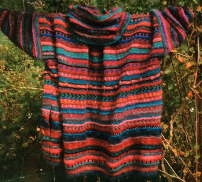 K's huge stripey cardigan - back