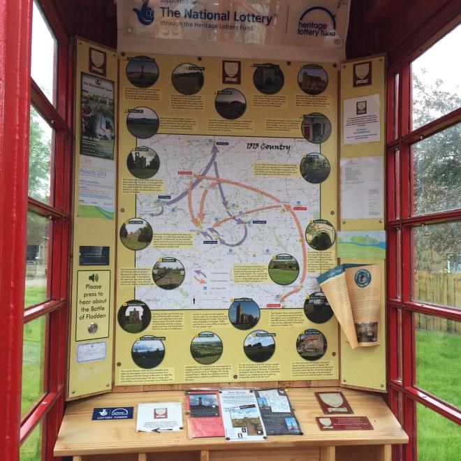 Flodden information inside the telephone box