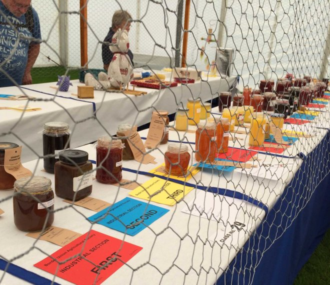 jams and jellies behind wire