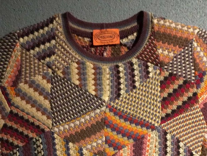 detail of patchwork jumper