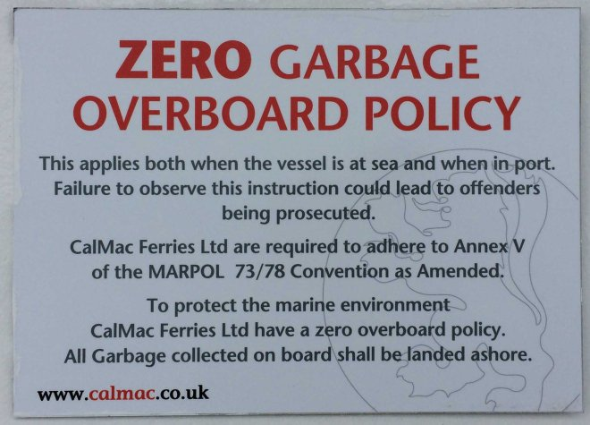 Calmac sign about rubbish
