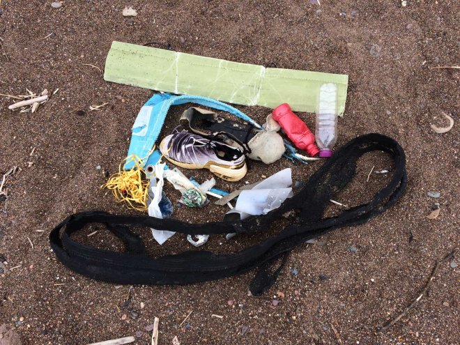 collection of beach rubbish