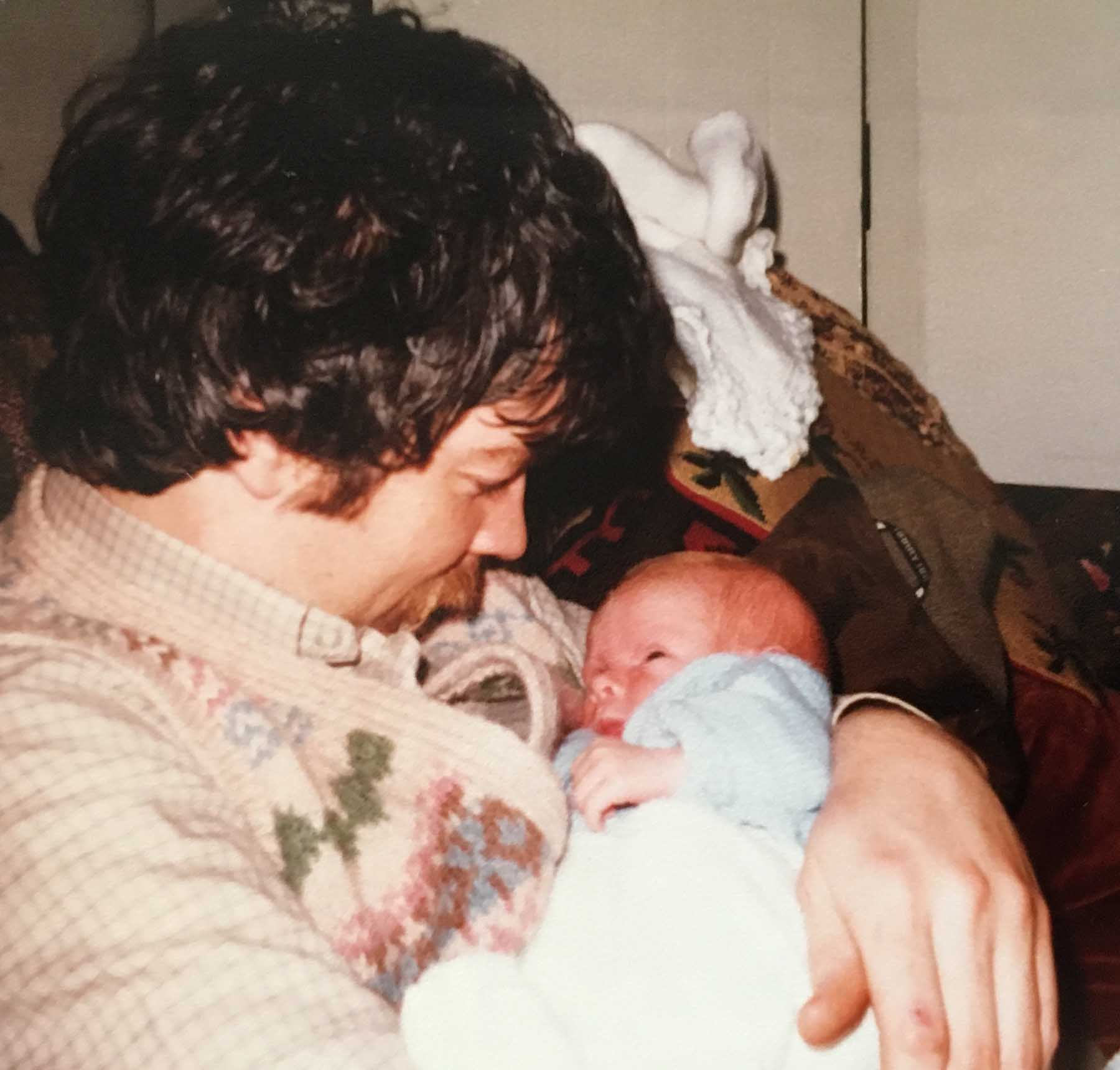 Daddy Hugh with baby son James 1980