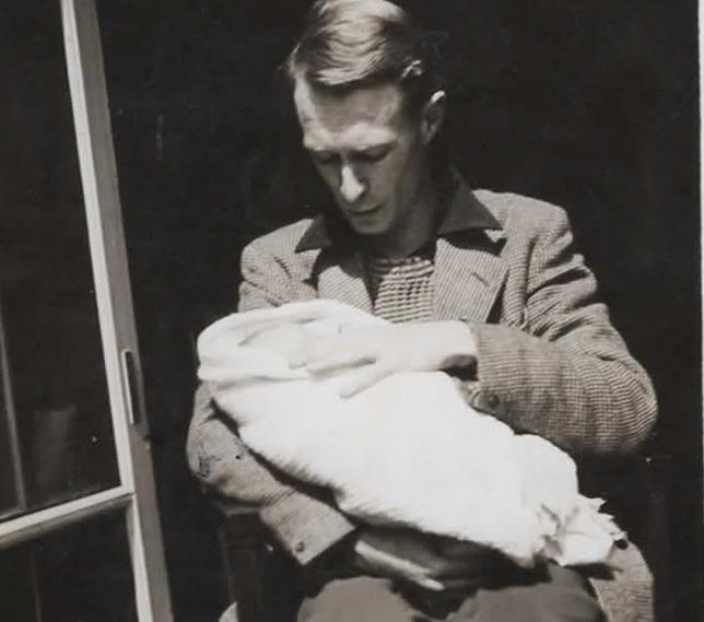 Katherine (8 days old) & Dick 1954