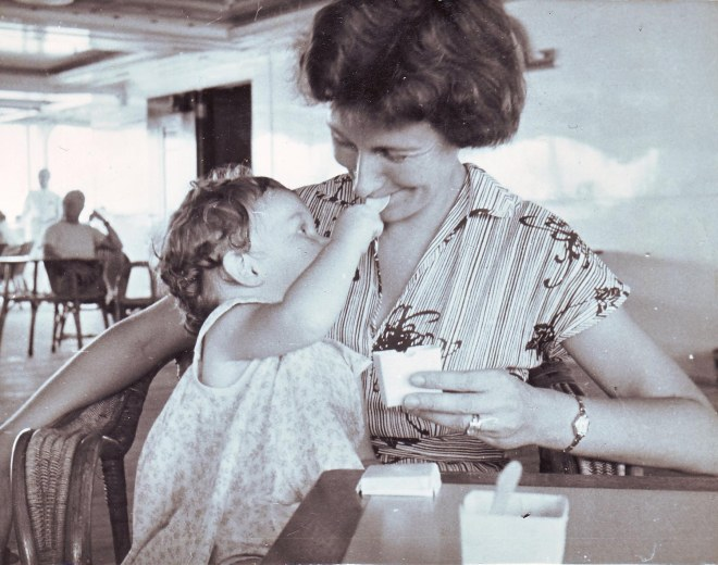 Katherine feeding Mary icecream 1955