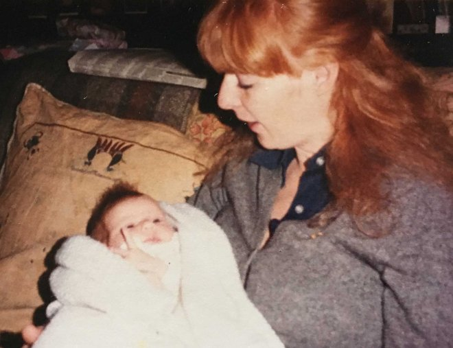 Katherine talking to baby Helen 1983