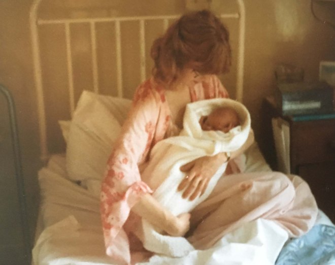 New mother Katherine with baby James 1980